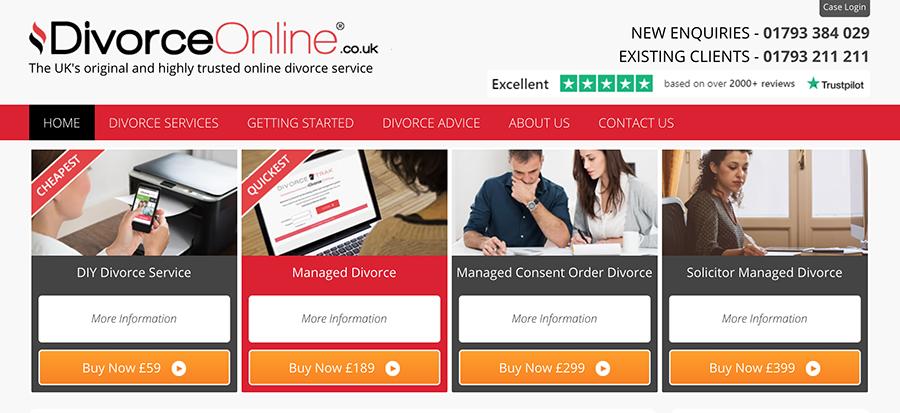 Screenshot of Divorce-Online.co.uk homepage