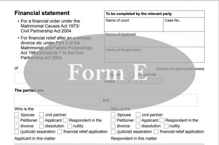 Divorce Form E